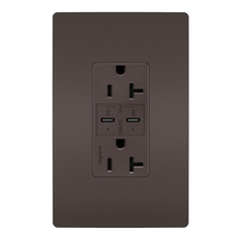 radiant 20A Tamper Resistant Ultra Fast PLUS Power Delivery USB Type CCOutlet, Brown
