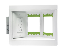 Three Gang Recessed TV Box with Metal Electrical Box, White