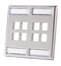 Dual gang stainless steel faceplate - holds eight Keystone jacks or modules