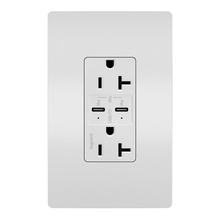 radiant 20A Tamper Resistant Ultra Fast PLUS Power Delivery USB Type CCOutlet, White