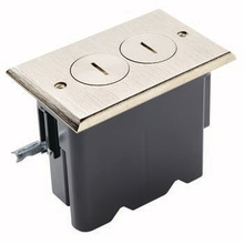 Rectangular Outlet Floor Box Kit - Nickel
