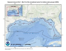 This is a map of seasonal closure of the recreational sector for shallow-water grouper to protect Gulf of Mexico reef fish.