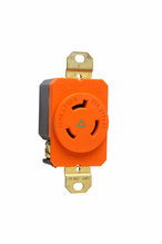 20 Amp NEMA L720 Single Receptacle, Orange, Isolated Ground