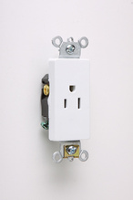 Heavy-Duty Decorator Spec Grade Single Receptacles, Back & Side Wire, 15A, 125V, White