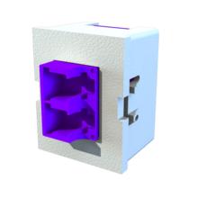 TracJack Module, Keyed Front Keyed Rear LC Duplex, Ceramic Lined, MM/SM, Flush Mount, Violet