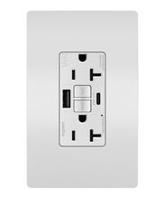 radiant 20A Tamper Resistant Outdoor Self Test GFCI USB Type AC Outlet  White