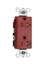 Tamper-Resistant Isolated Ground Decorator Hospital Grade Receptacle, Back & Side Wire, 20A, 125V, Red