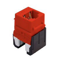 Cat 6a Quick Connect RJ45 Keystone Insert, Red