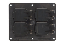 2-Gang Flip Lid 2-Duplex Cover Plate, Black