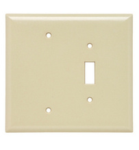 Combination Openings, 1 Toggle Switch & 1 Blank, Two Gang, Ivory