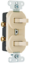 Two Grounding Single-Pole Combination Switches, Ivory