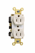 Industrial Extra Heavy-Duty Spec Grade Receptacles, Back & Side Wire, 15A, 125V, White