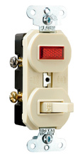 Non-Grounding Single-Pole Combination Switch & Pilot Light, Ivory