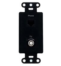 Pre-Configured 2-Port Strap, Phone/TV, Black