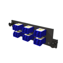Infinium M4 HDFP Adapter Panel, 6 Keyed Front Non-Keyed Rear LC Duplex Adapters, 12 Fiber, Blue