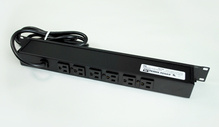 Plug-In Outlet Center Unit / Rack Mount 120V/15A/6 rear O/L /lighted switch/6' cord/Computer Grade Surge