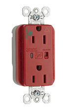 PlugTail® Hospital Grade Isolated Ground Surge Protective Duplex Receptacle, Red