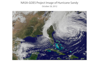 This satellite image shows Hurricane Sandy on October 28, 2012, shortly before it made landfall and was renamed a superstorm. Image credit: NASA-GOES (click image to download hi-res version.)