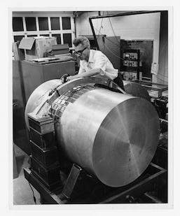 University of Maryland Physics Professor Joseph Weber (1919-2000) with one of the world's first gravitational wave detectors. Credit: Special Collections and University Archives, University of Maryland Libraries