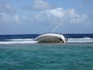 S/V Footloose aground on coral reef off St. Croix after Hurricane Maria