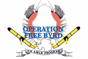 Operation Free Byrd logo with two krill and two autonomous vehicles.