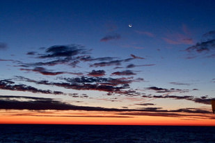 Sunrise at sea east of Jeffreys Ledge in the Gulf of Maine