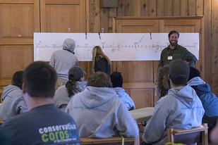 GulfCorps in the classroom during their first orientation at Camp Beckwith, Alabama.