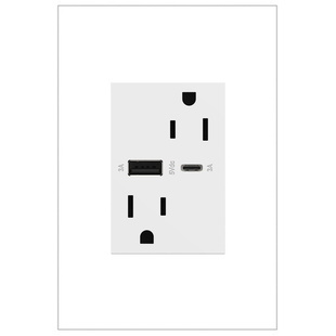 adorne 15A tamper-resistant ultra-fast usb type a/c outlet white
