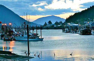 Wrangell, Alaska, at sunset.