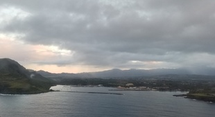 Calm ocean conditions and pre-sunrise view overlooking Nawiliwili Harbor, Kaua'i on the morning of our interviews.