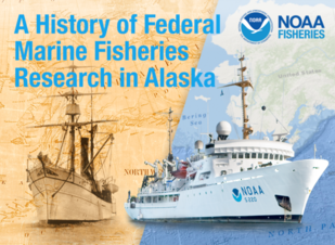 Composite image of old and modern NOAA research vessels.