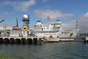 Image of the Oscar Elton Sette at her home port, Ford Island.