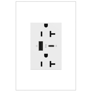 adorne 20A tamper-resistant ultra-fast usb type a/c outlet white