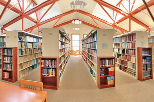 Rows of library bookshelves