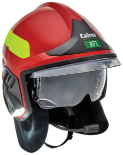 A red MSA Cairns XF1 fire helmet