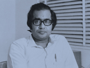 C.V. Vishveshwara, Ph.D. '68, physics, shown here in the early 1970s. Vishveshwara is a theoretical physicist and director emeritus of the Jawaharlal Nehru Planetarium in Bangalore, India. Courtesy of C.V. Vishveshwara.