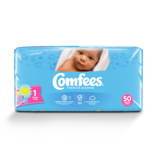 CMF-1 - Comfees Baby Diapers, Size 1, 50 count