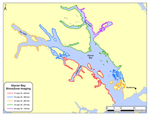 ShoreZone Flight Plan for 5 day survey of the inner bay of Glacier Bay National Park & Preserve.