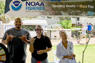 NOAA staff at Earth Day outreach event.