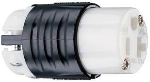 20A, 125V Extra-Hard Use Spec-Grade Connector, Black & White