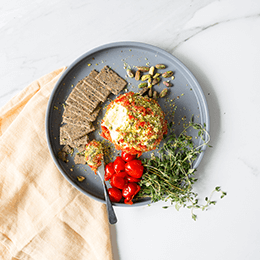 Pistachio, Charred Pepper & Thyme Cream Cheese Ball