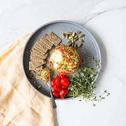 Pistachio, Charred Pepper & Thyme Cream Cheese Ball
