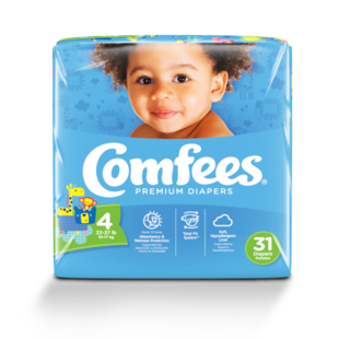 CMF-4 - Comfees Baby Diapers, Size 4, 31 count