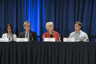 Cisco Werner speaks on a discussion panel at the ECCWO Climate & Oceans Symposium.