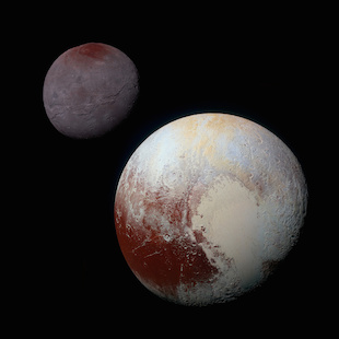 "Pluto, shown here in the front of this false-color image, has a bright ice-covered ""heart."" The left, roughly oval lobe is the basin provisionally named Sputnik Planitia. Sputnik Planitia appears directly opposite Pluto's moon, Charon (back). Credit: NASA/JHUAPL/SWRI (Click image to download high-res version.)"