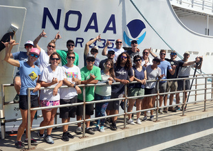 Marine debris team on the pier before boarding the NOAA Ship Sette