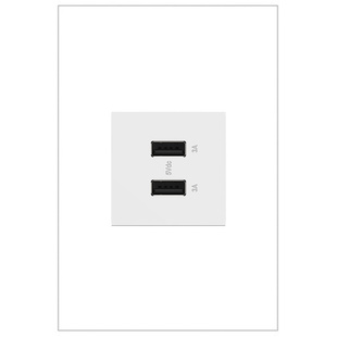adorne USB Type A/A outlet in white