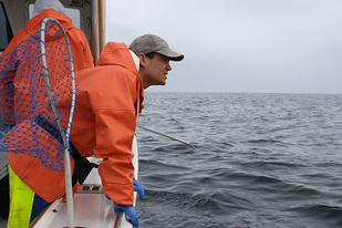 Giovanni Gianesin on a boat looking at the ocean during the longline survey