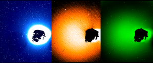 These images, acquired with Rosetta's OSIRIS wide-angle camera using specific wavelength filters, map the emissions of three gases from the surface of comet 67P/Churyumov-Gerasimenko. From left to right, the panels show hydroxyl molecules (blue; 308nm filter), oxygen atoms (orange; 630nm), and cyanide molecules (green; 387nm). The OSIRIS instrument captured the images on March 12, 2015, when Rosetta was 80 km from the comet. Image credit: Bodewits/UMD for OSIRIS Team MPS/UPD/LAM/IAA/SSO/INTA/UPM/DASP/IDA (Click image to download hi-res version.)
