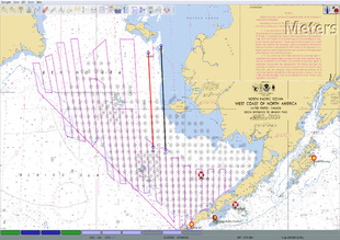 The 2018 Eastern Bering Sea acoustic-trawl survey trackline (purple lines), and the planned line extensions.